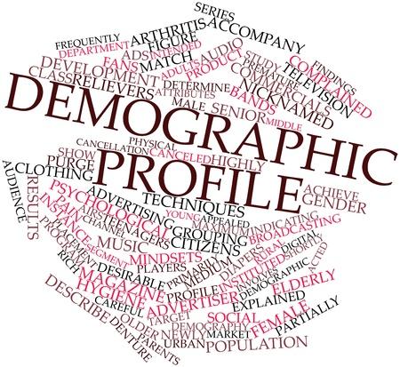 demografia: Nube palabra abstracta para el perfil demográfico con las etiquetas y términos relacionados