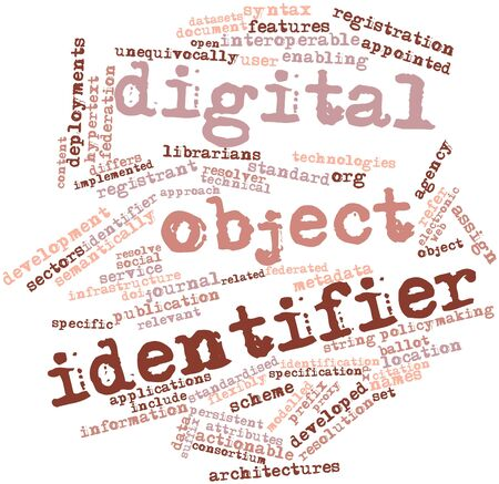 characterised: Abstract word cloud for Digital object identifier with related tags and terms