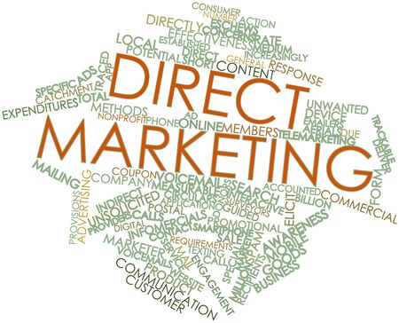 direct marketing: Abstract word cloud for Direct marketing with related tags and terms Stock Photo