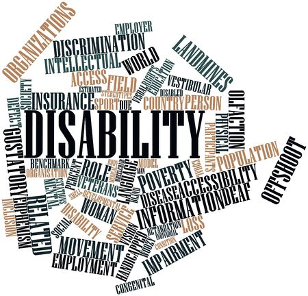 retardation: Abstract word cloud for Disability with related tags and terms Stock Photo