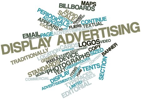 general maps: Abstract word cloud for Display advertising with related tags and terms Stock Photo