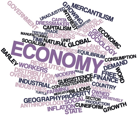 Abstract word cloud for Economy with related tags and terms photo