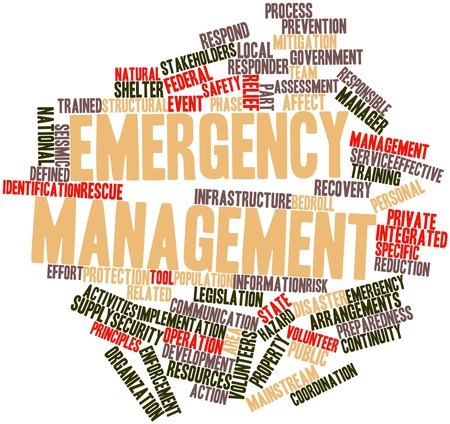 disaster: Abstract word cloud for Emergency management with related tags and terms Stock Photo