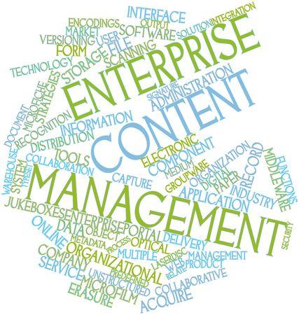 document management: Abstract woordwolk voor Enterprise Content Management met gerelateerde tags en voorwaarden Stockfoto