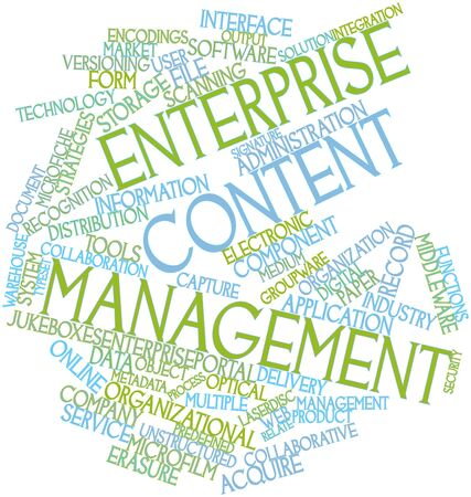 document management: Abstract word cloud for Enterprise content management with related tags and terms