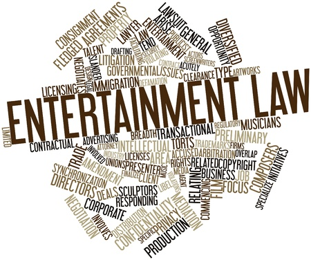 Abstract word cloud for Entertainment law with related tags and terms