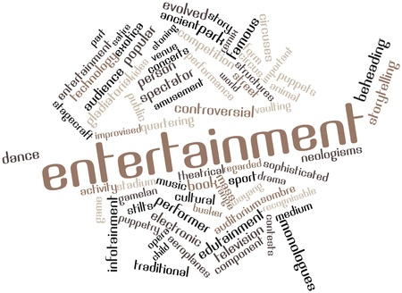 evolved: Abstract word cloud for Entertainment with related tags and terms Stock Photo