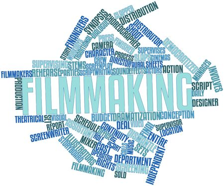 screenplay: Abstract word cloud for Filmmaking with related tags and terms