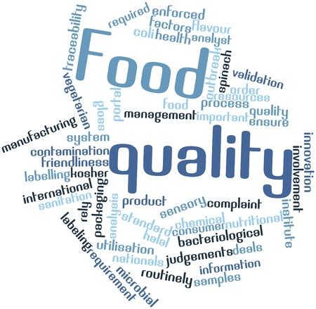 cordialit�: Word cloud astratto per qualit� del cibo con tag correlati e termini