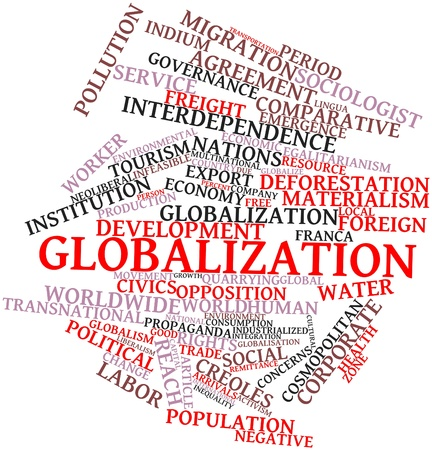 interdependence: Abstract word cloud for Globalization with related tags and terms Stock Photo