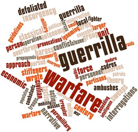 Nuage de mots abstraits pour la guérilla avec des étiquettes et des termes connexes Banque d'images - 15997949