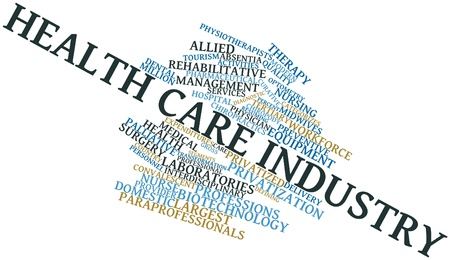 Abstract word cloud for Health care industry with related tags and terms photo