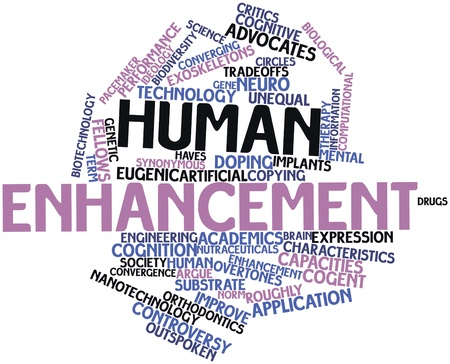 evoke: Abstract word cloud for Human enhancement with related tags and terms