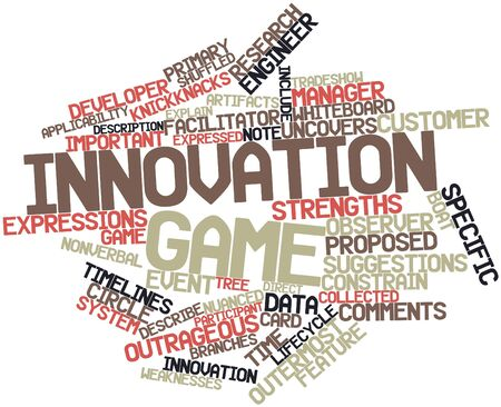 relies: Abstract word cloud for Innovation game with related tags and terms Stock Photo