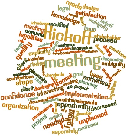 permissions: Abstract word cloud for Kickoff meeting with related tags and terms Stock Photo