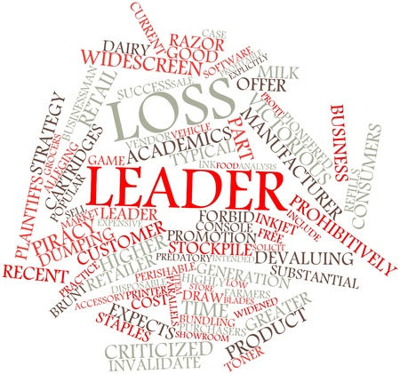 profit and loss: Abstract word cloud for Loss leader with related tags and terms