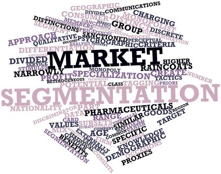 discriminacion: Nube palabra abstracta para la segmentación de mercado con etiquetas y términos relacionados Foto de archivo