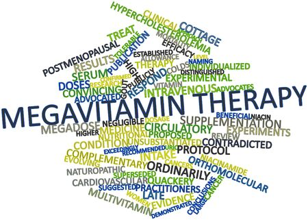 supplementation: Abstract word cloud for Megavitamin therapy with related tags and terms Stock Photo