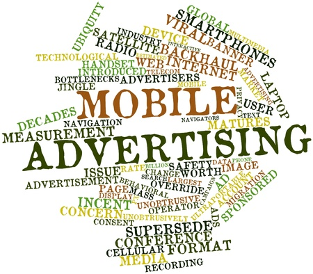 bottlenecks: Abstract word cloud for Mobile advertising with related tags and terms Stock Photo