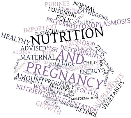Abstract word cloud for Nutrition and pregnancy with related tags and terms Stock Photo - 15996908