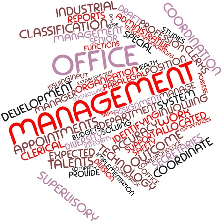 supervisory: Abstract word cloud for Office management with related tags and terms