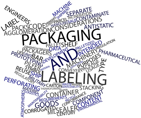 conformance: Abstract word cloud for Packaging and labeling with related tags and terms Stock Photo