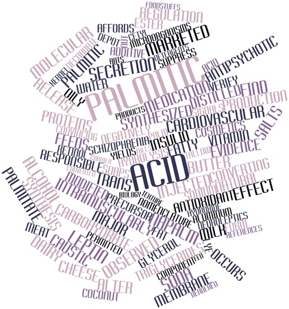 alter: Abstract word cloud for Palmitic acid with related tags and terms