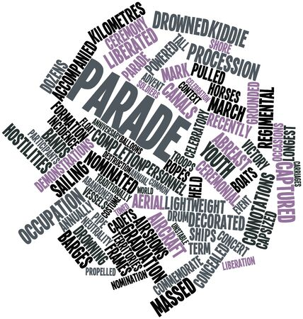 hostilities: Abstract word cloud for Parade with related tags and terms Stock Photo