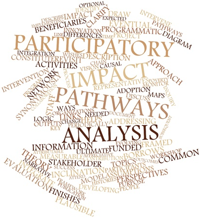 common vision: Abstract word cloud for Participatory impact pathways analysis with related tags and terms