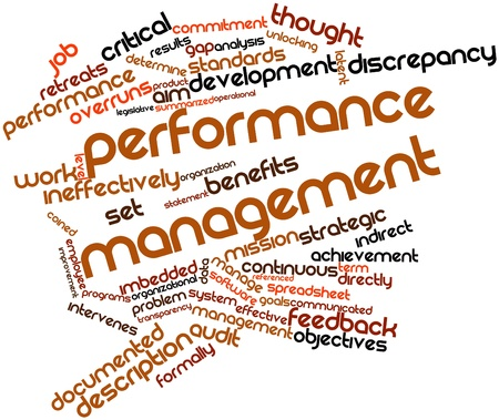 Abstract word cloud for Performance management with related tags and terms