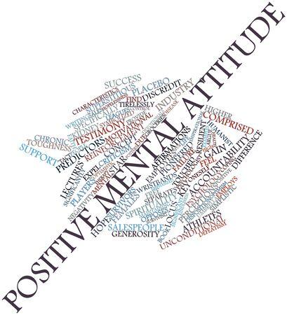 comprised: Word cloud astratto per atteggiamento mentale positivo con tag correlati e termini Archivio Fotografico