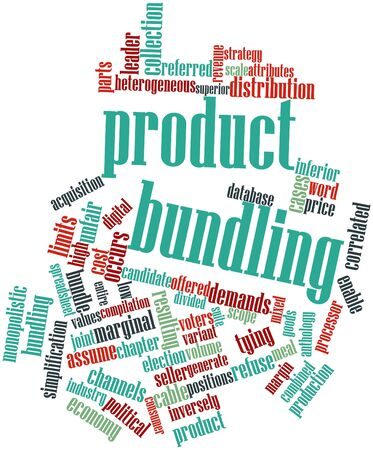 correlated: Abstract word cloud for Product bundling with related tags and terms Stock Photo