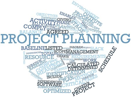 Abstract word cloud for Project planning with related tags and terms