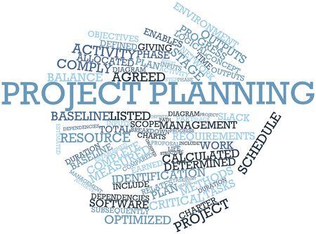 defined: Word cloud astratto per la pianificazione del progetto con tag correlati e termini