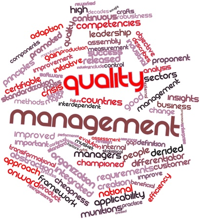 Abstract word cloud for Quality management with related tags and terms photo