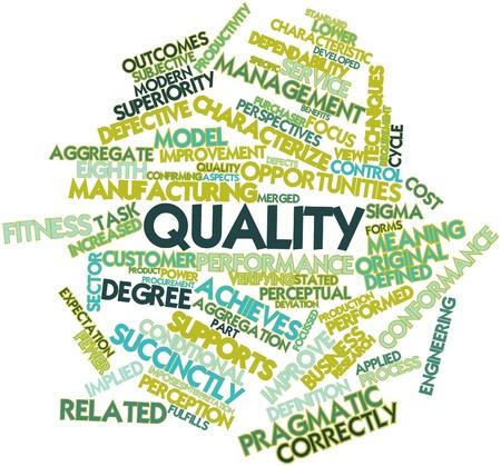 characterize: Nube palabra abstracta para la Calidad con las etiquetas y t�rminos relacionados