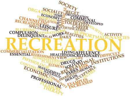 physical education: Abstract word cloud for Recreation with related tags and terms