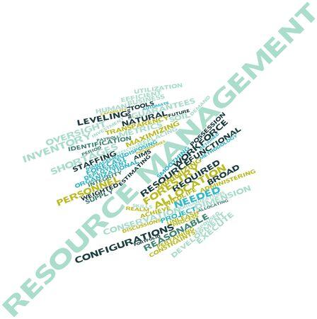 recursos naturales: Nube palabra abstracta para la gestión de recursos con las etiquetas y términos relacionados Foto de archivo
