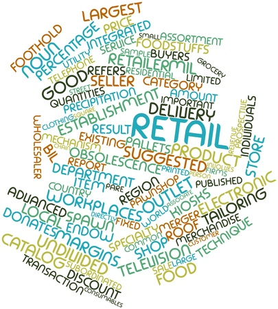 donates: Abstract word cloud for Retail with related tags and terms Stock Photo