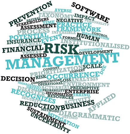 diagrammatic: Abstract word cloud for Risk management with related tags and terms