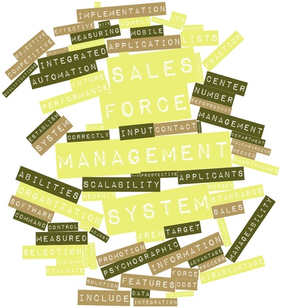 Abstract word cloud for Sales force management system with related tags and terms Stock Photo - 15996462