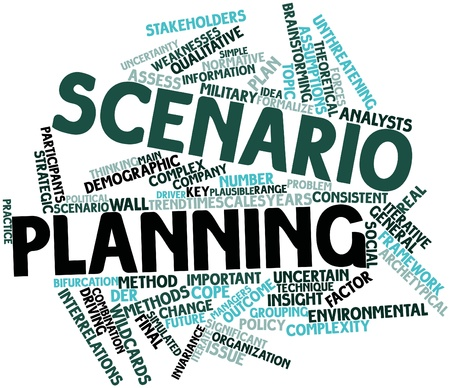 Abstract word cloud for Scenario planning with related tags and terms