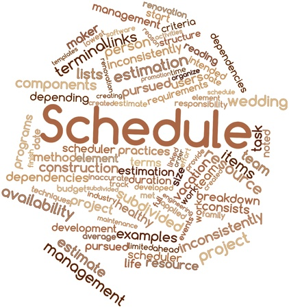 Abstract word cloud for Schedule with related tags and terms Stock Photo - 15998140