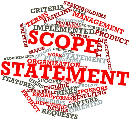 project charter: Abstract word cloud for Scope statement with related tags and terms