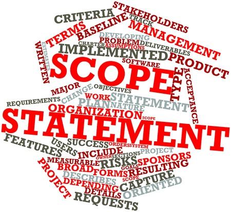 dichiarazione: Word cloud astratto per un'istruzione Scope con tag correlati e termini