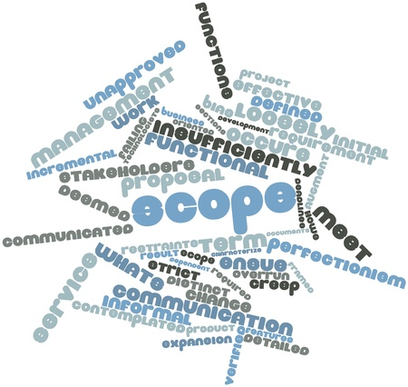 overrun: Abstract word cloud for Scope with related tags and terms Stock Photo