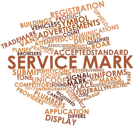 differs: Abstract word cloud for Service mark with related tags and terms Stock Photo