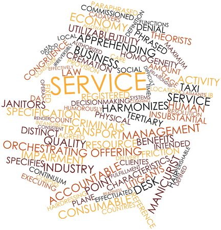 tertiary: Abstract word cloud for Service with related tags and terms Stock Photo