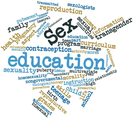 education choice: Abstract word cloud for Sex education with related tags and terms Stock Photo