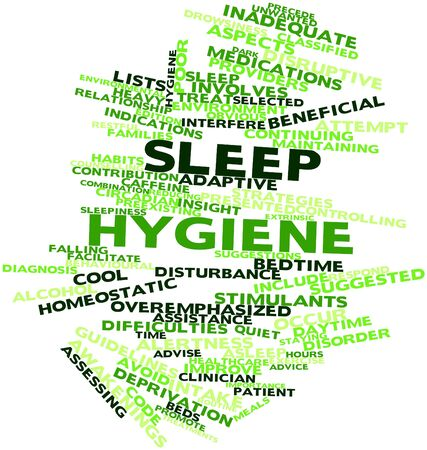 inadequate: Abstract word cloud for Sleep hygiene with related tags and terms